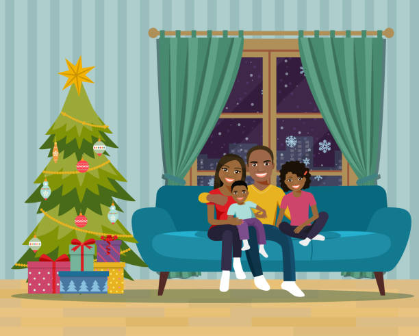 Print Afro american family sitting on sofa in the living room. Happy New Year and Merry Christmas. Vector flat illustration christmas family stock illustrations