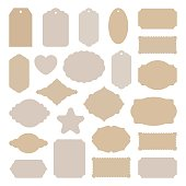 Labels tags big set, vintage stickers many shapes, for card making, scrapbook, price, Christmas gift, old paper frames beige craft card stock, holiday collection cutout templates, vector illustration.