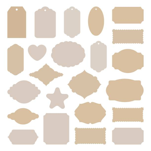 Print Labels tags big set, vintage stickers many shapes, for card making, scrapbook, price, Christmas gift, old paper frames beige craft card stock, holiday collection cutout templates, vector illustration. label stock illustrations