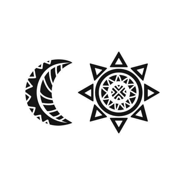 Royalty Free Background Of Tribal Sun And Moon Tattoo Clip Art