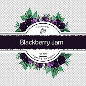 Hand-drawing blackberry jam packing label design. Blackberry logo design element. Isolated vector illustration
