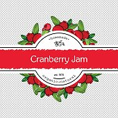 Hand-drawing cranberry jam packing label design. Cranberry logo design element. Isolated vector illustration