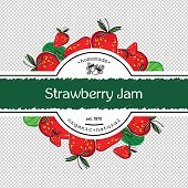 Hand-drawing strawberry jam packing label design. Strawberry logo design element. Isolated vector illustration
