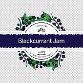 Hand-drawing currant jam packing label design. Blackcurrant logo design element. Isolated vector illustration