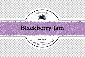 Hand-drawing blackberry jam packing label design. Blackberry logo design element with pattern. Isolated vector illustration