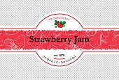 Hand-drawing strawberry jam packing label design. Strawberry logo design element with pattern. Isolated vector illustration
