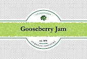 Hand-drawing gooseberry jam packing label design. Gooseberry logo design element with pattern. Isolated vector illustration