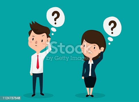 Employees Men and women face a dazed question with a question mark on the head.