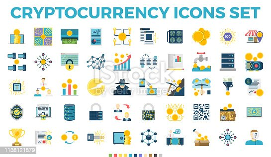Cryptocurrency and Blockchain Related Flat Icons. Crypto Icon Set Featuring Bitcoin, Wallet, Mining, Distributed Ledger Technology, P2P, Altcoins, Encryption, Smart Contracts, Decentralized Vectors - Vector