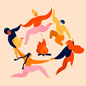 Dancing party and jumps  with bonfire. Group of young diversity man and woman are holding their hands in circle around campfire. Kupala festival, leisure and tourism activity.  Vector flat