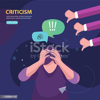 Vector illustration business concept designed as a man kneeling and others pointing at him.  Criticized, blamed.  Flat vector concept illustration.