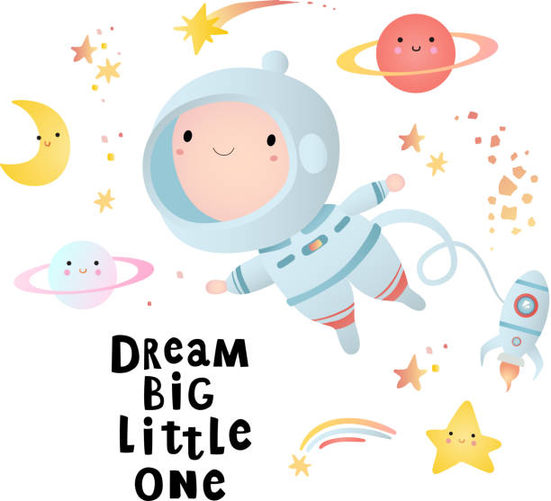 Print Holiday card design. Baby shower. A little astronaut floating around in open space, among stars and comets. baby shower stock illustrations