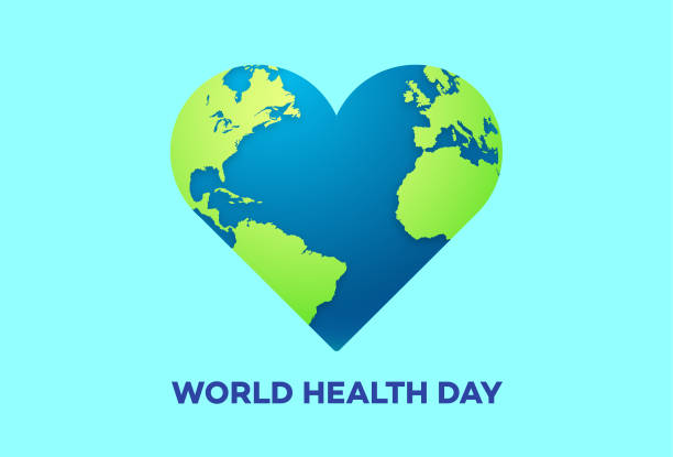 Print World Health Day illustration on blue background world health day stock illustrations
