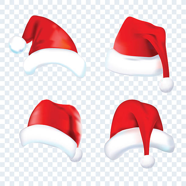 stockillustraties, clipart, cartoons en iconen met print - kerstmanhoed