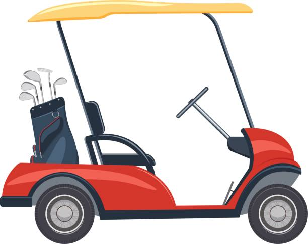 Print red golf cart vector illustration. golf car isolated on a white background golf cart stock illustrations