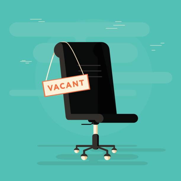 Print Composition with office chair and a sign vacant. Business hiring and recruiting concept. Vector illustration. vacancy stock illustrations