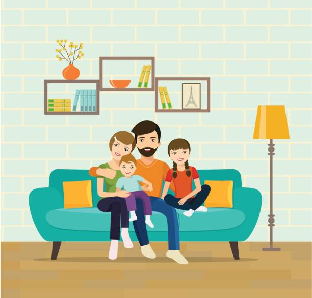 print - happy family stock illustrations