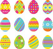 Set of vector colorful Easter eggs. Decoration for Easter design. Isolated on white background twelve Easter eggs.