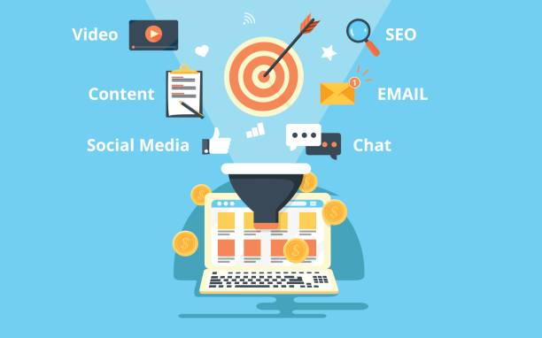 Print website optimization for better conversion, increasing conversion rate through SEO, social media, content, email and other marketing technology origins stock illustrations
