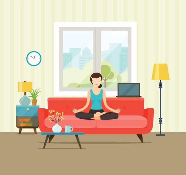 der abdruck - wohnzimmer gemütlich stock-grafiken, -clipart, -cartoons und -symbole