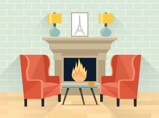 stockillustraties, clipart, cartoons en iconen met afdrukken - fireplace