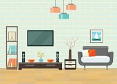 Living room with chair and television. Flat style vector illustration.