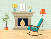 Living room interior with rocking chair and fireplace. Flat style vector illustration