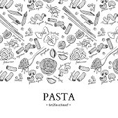 Italian pasta restaurant vector vintage illustration. Hand drawn engraved banner. Great for menu, banner, flyer, card, business promote.