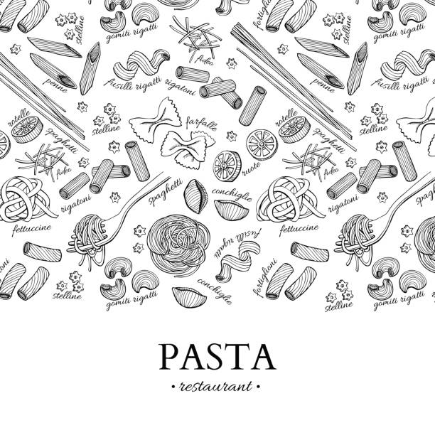 illustrazioni stock, clip art, cartoni animati e icone di tendenza di print - pasta