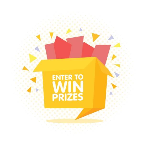 Print Enter to win prizes gift box. Cartoon origami style vector illustration. enter key stock illustrations