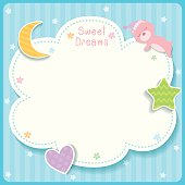 Sweet dreams cute card design with cloud, star,moon,heart and sleeping bear for template frame.
