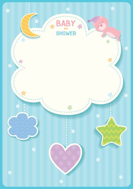 Print baby shower cute card design with cloud, star,moon,heart and sleeping bear for blue template frame. bedroom borders stock illustrations