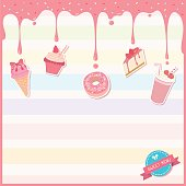 Illustration vector of sweet dessert menu template decorated with pink strawberry syrup,toppings and icon on colorful pastel background.