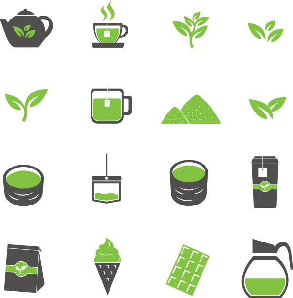Print green tea icons set vector teapot stock illustrations
