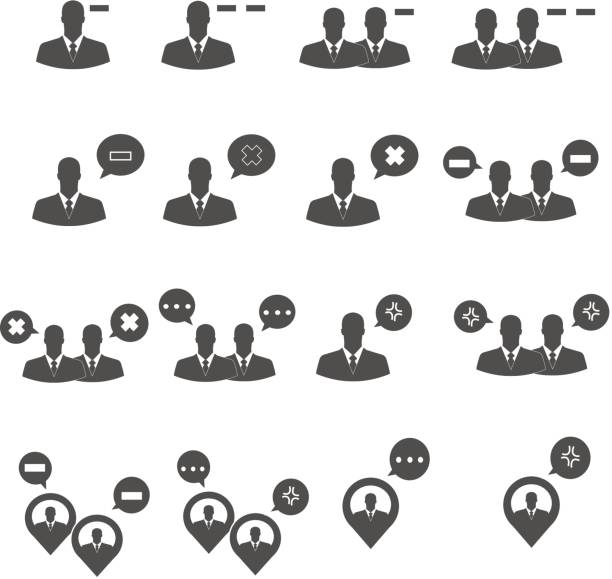 Print business people conflict icons set vector disavow stock illustrations