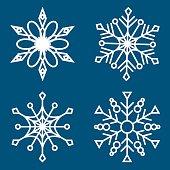 Set of snowflakes, Laser cut pattern for christmas design elements vector illustration.