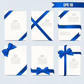Set gift card vector illustration on white background, luxury wide gift bow with blue ribbon and space frame for text, gift wrapping template for banner, poster design.