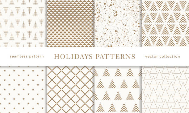 Print Set of winter holiday seamless patterns. Merry Christmas and Happy New Year. Collection of simple geometric textured backgrounds with golden color. Vector illustration. EPS 10 holiday background stock illustrations
