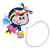 Cartoon bee girl with speech bubble on white background illustration vector.