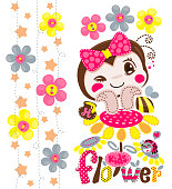 Bee girl resting chin on hands on sunflower with ladybug illustration vector.
