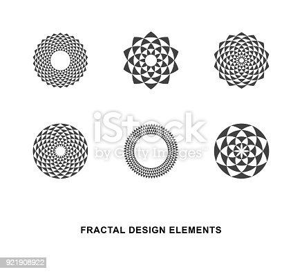 Set of Black and White Circular Fractal Design Elements. Digital flower. Vector illustration.