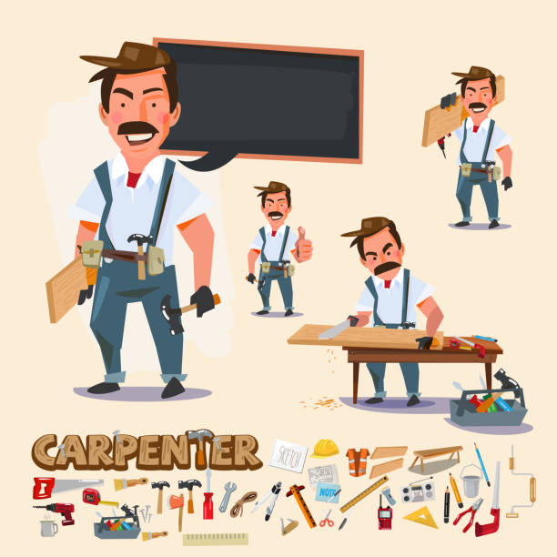 Print carpenter in various actions with wood work tool. character design with typographic - vector illustration carpenter stock illustrations