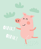 vector illustration of a cute funny dancing ping and oink oink text