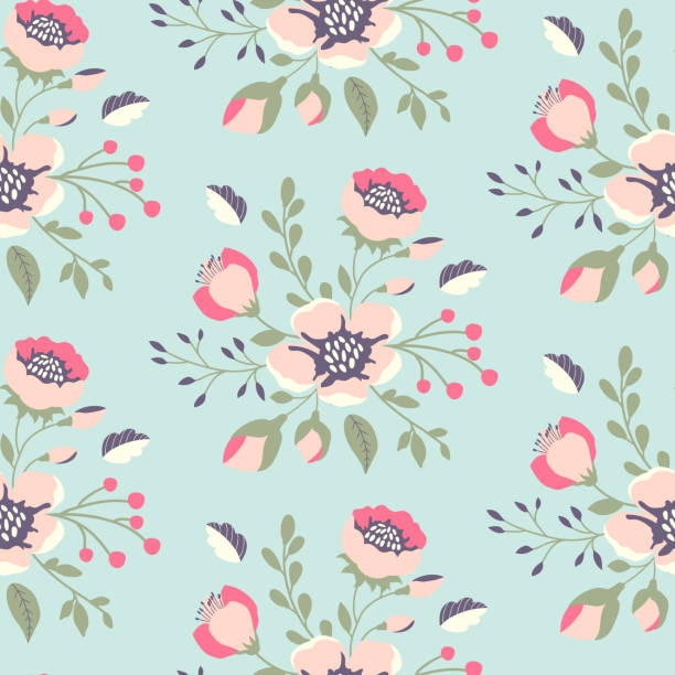 Print Cute floral pattern in shabby chic style. Vector flower seamless background. shabby chic stock illustrations