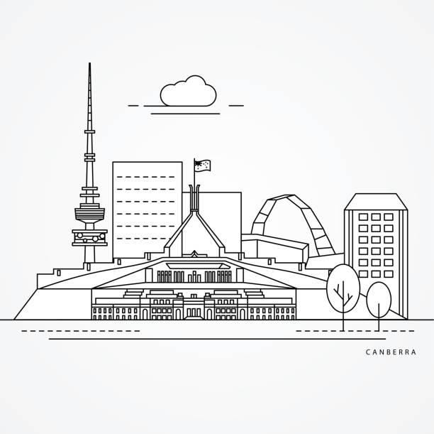 bildbanksillustrationer, clip art samt tecknat material och ikoner med skriv ut - canberra skyline