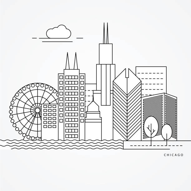 Print Linear illustration of Chicago, US. Flat one line style. Trendy vector illustration. Architecture line cityscape with famous landmarks, city sights, design icons. Editable strokes chicago stock illustrations