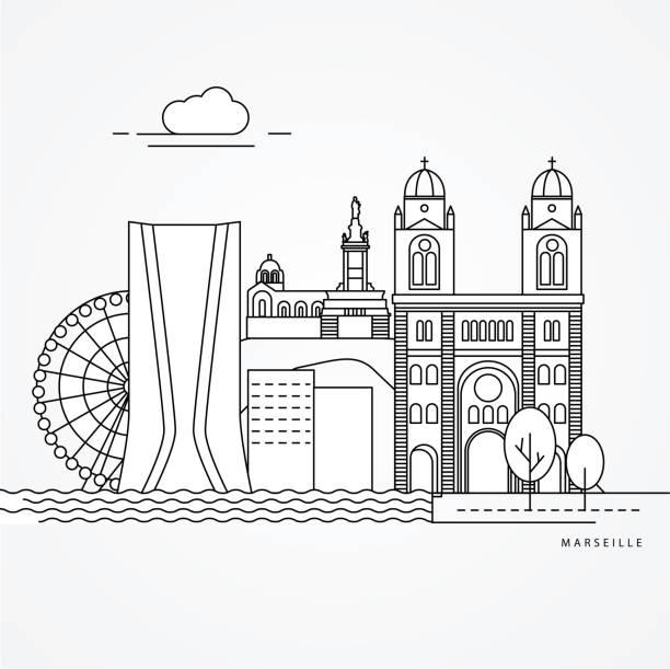 stockillustraties, clipart, cartoons en iconen met afdrukken - marseille