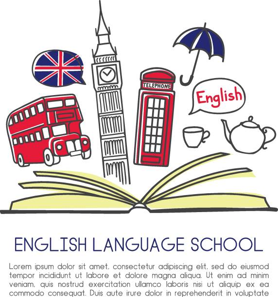 Print Vector illustration English language school. Open book and symbols of London: tea, Big Ben, double decker, telephone box, umbrella. Hand drawn doodle objects isolated on white with place for your text england stock illustrations