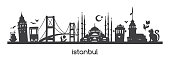 Vector panoramic illustration Istanbul with black silhouette of turkish symbols and landmarks of Turkey. Hand drawn elements: Galata tower, bridge, tram, mosque. Horizontal banner or print design.