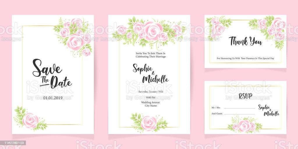 Drucken Hochzeit Einladung Sendekarte Vorlage speichern das Datum Blumen-Set - Lizenzfrei Blume Vektorgrafik